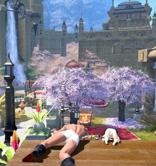 ハダカと桜の町並み