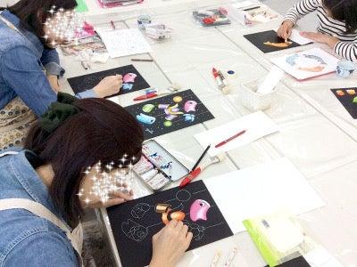 仙川カルチャーセンターチョークアート講座の様子1