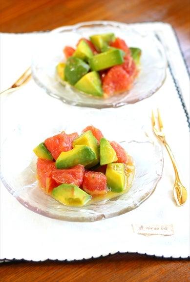 柏料理教室 アボカドとグレープフルーツの塩レモンマリネ