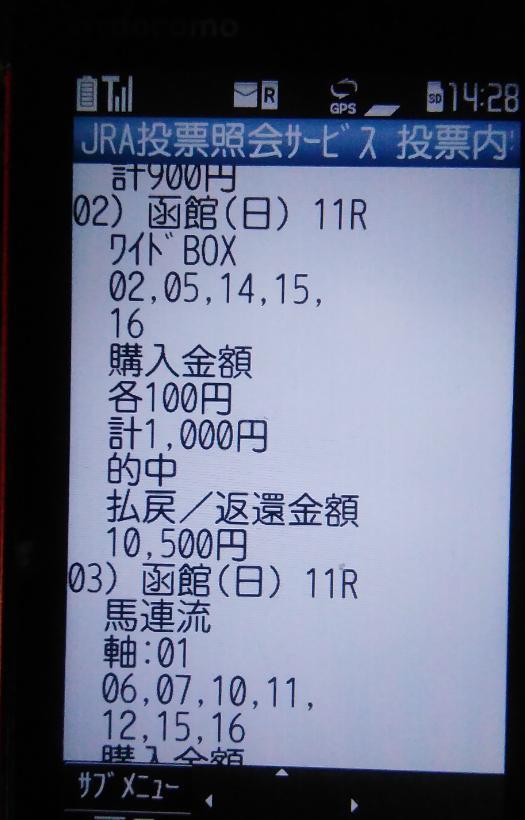 函館記念ワイド105倍