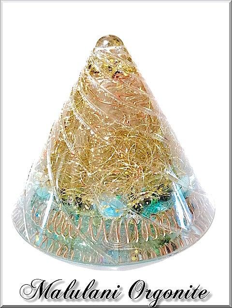 円錐型オルゴナイト ポイント水晶 六芒星 天然石