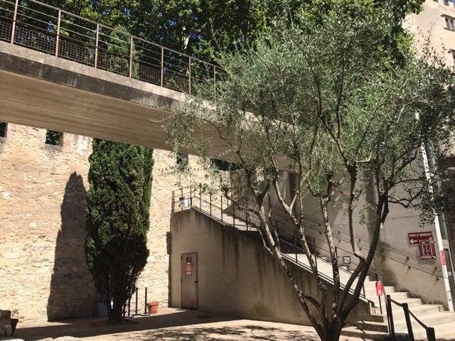 橋への階段