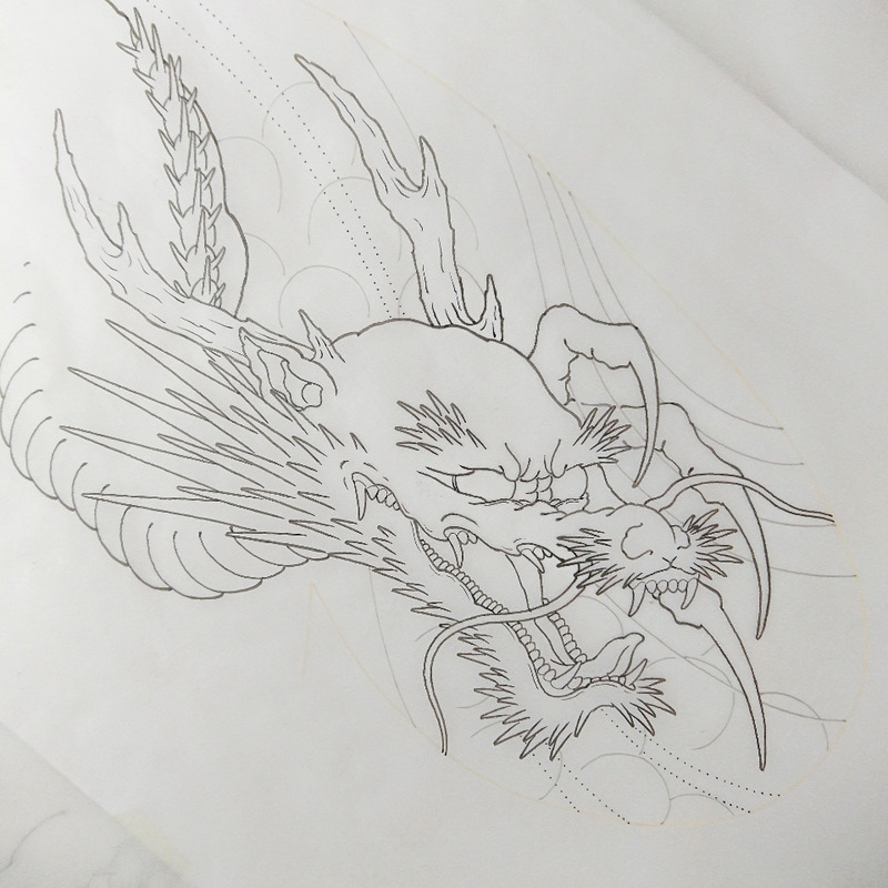和彫り 龍 下絵
