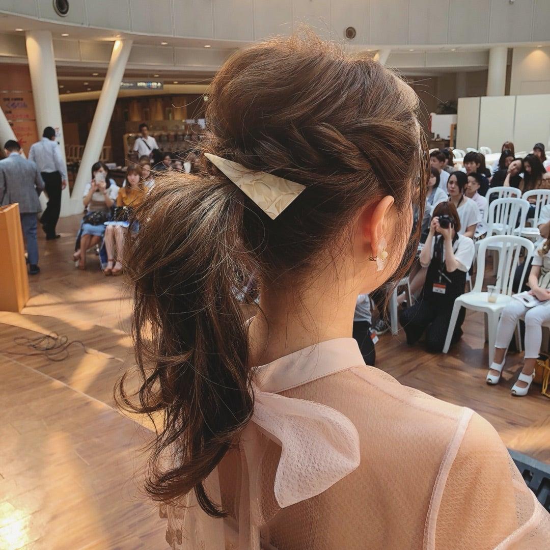 結婚式 ヘアセット ポニーテール ミディアム