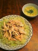バンバンジーとスープ
