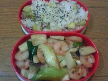 さつま芋ご飯&白ネギと小海老炒め