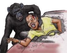 人を襲うチンパンジー