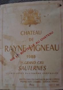Ch de Rayne Vigneau 1986
