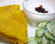 南瓜バナナホットケーキの献立