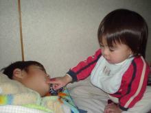 お兄ちゃんの寝顔を観察中