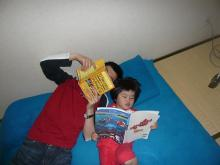 reading book with daddy