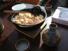 雪見船に準備された芋煮鍋
