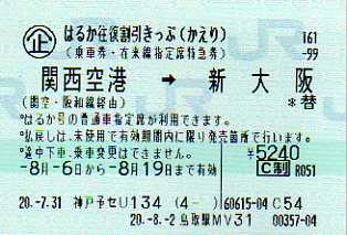 大阪往復割引きっぷ