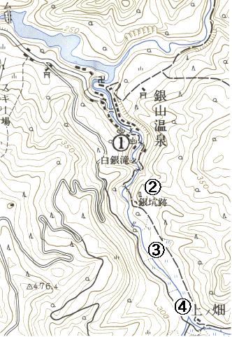 尾花沢銀山地形図