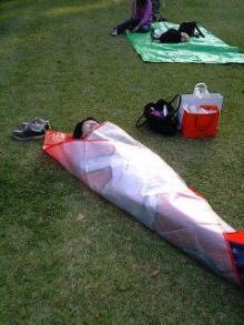 公園で昼寝