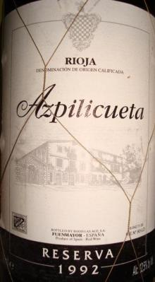 RIOJA Azpilicueta Reserva 1992