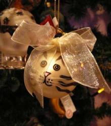 glass cat ornament
