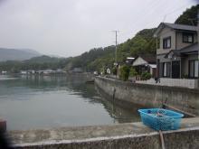 天草市有明町大浦地区漁港から眺める海岸通り