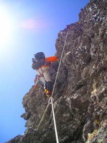 南稜登攀中の吉田