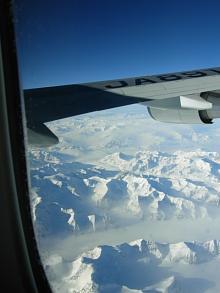 アラスカ上空にて