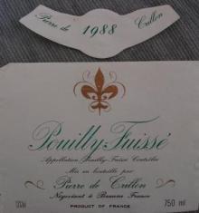 Pouilly Fuisse 1988 Pierre de Crillon