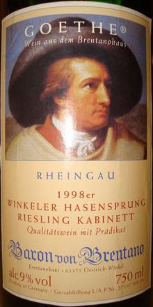 個人的ワインのブログ-Winkeler Hasensprung Riesling Kabinett 1998