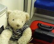 赤いバッグに白いクマ。