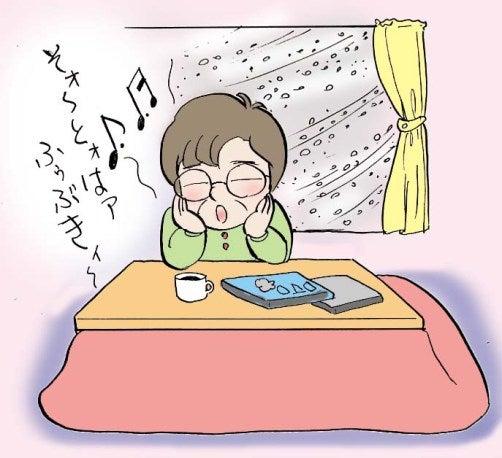 外は吹雪き