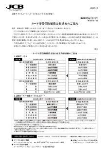 JCB-THE CLASS保険額改定