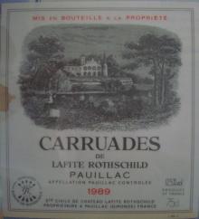 個人的ワインのブログ-Carruades de Larite Rothschild 1989