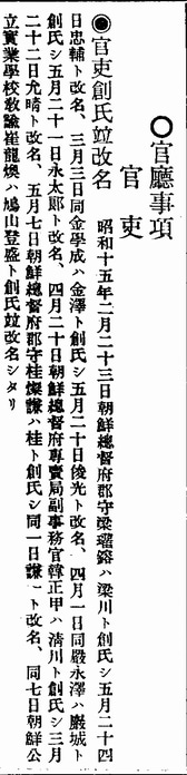 桂と創氏しの実例(小)