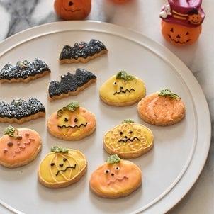 Halloweenのナチュラルアイシングクッキーの画像
