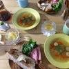 手作り食パンとスープの朝の画像