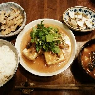 揚げ出し豆腐のクレソントッピングと葛練り(写真なし)の画像