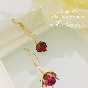 ミニ薔薇の可愛いすぎる揺れるピアス♡の画像