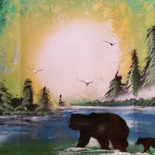enjoy Spray paint art シャチの親子2019 6 1の画像