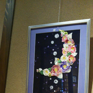 古布絵 「月あかり」の画像
