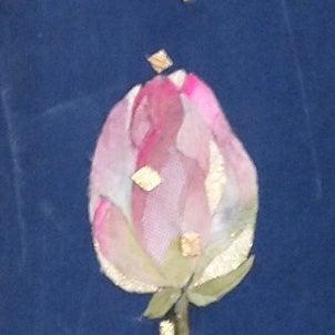 阿吽の蓮(古布絵・流木額)の画像
