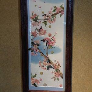桜咲く (風花 古布絵)の画像