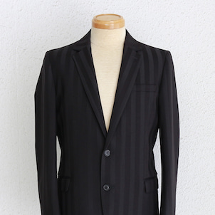 GalaabenD ジャガードストライプノッチドラペル2Bジャケット / ブラック×ブラックの画像