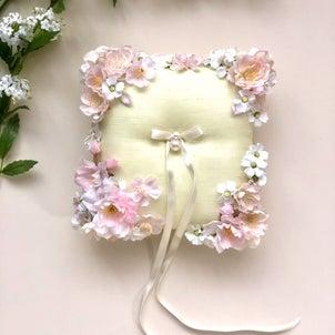 ピンクブロッサム 桜のリングピローの画像