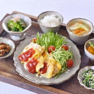 チキンピカタの朝ごはんと ✽ あさり豆の画像