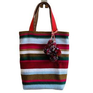 アフガニスタンの手織り布ボーダートートバッグの画像