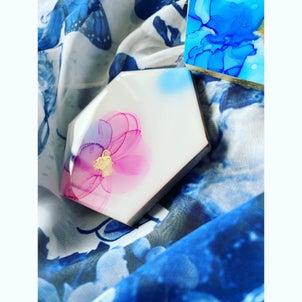 ・・jlaアルコールインクアート・ヘキサゴンコースター作ってみました♡・可愛く...の画像