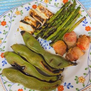 魚焼きグリルで焼き野菜の画像