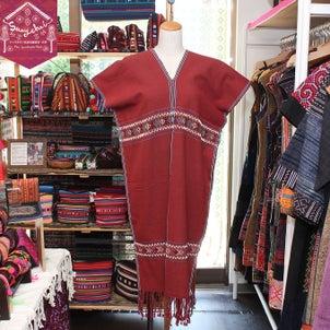 夏でも涼しいカレン族刺繍織り貫頭衣ワンピースが新入荷☆の画像