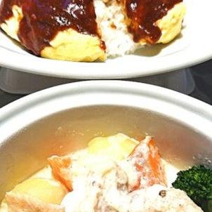 洋食家はるひです。今週の週替わりメニューは、『中札内産鶏もも肉のクリームシチュー&オムハンバーグの画像
