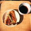 朝ごはん と 日光浴の画像