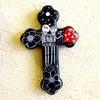 メキシコのガイコツの陶器十字架[Pick Up]の画像