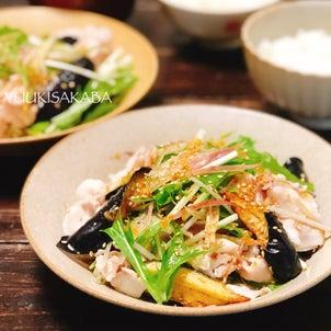 野菜たっぷり。生姜たっぷりのたれでさっぱりおいしい、豚しゃぶサラダレシピの画像